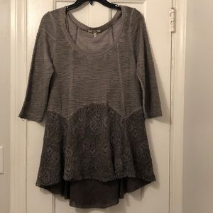 Gimmicks by BKE grey lace tunic top dress Medium